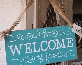 WELCOME Door Hanger Wood Sign 8x16in Hand Painted Farmhouse Decor