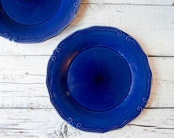 Set of 2 Blue Ceramic Plates-Food Photography Props