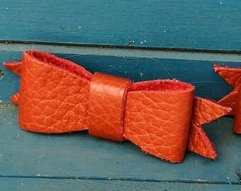 Orange leather bow hairclip, leather hair clip, hair accessory, bow hair accessories, hair accessories, handmade