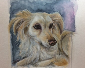 Original animal portrait on paper of 360 g watercolor oil mixing technology