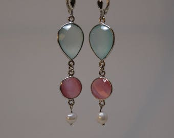 Earrings Crystal Mint rose and SW Pearl