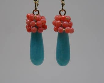 Real jewelry earrings earring gems turquoise coral silver gold plated