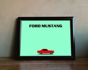 Retro Ford Mustang Poster