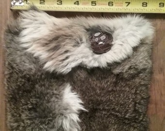 Handmade rabbit fur clutch