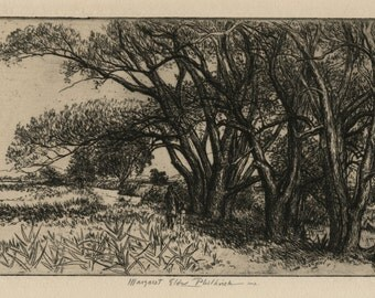 """MAGARET ELDER PHILBRICK (American, 1914-1999), """"Willows Along the Charles"""", ca. 1955, original etching, pencil signed"""