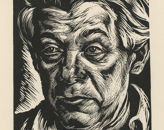 "ISAC FRIEDLANDER (Latvian/American, 1890-1968), ""Abraham Walkowitz"", 1943, original woodcut, pencil signed."