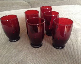 Royal Ruby Juice Glasses by Anchor Hocking