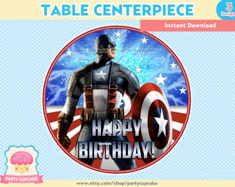 80% OFF SALE Table Centerpiece Captain America - 3 Designs - Instant Download - PDF Files - High Resolution - Holiday Party