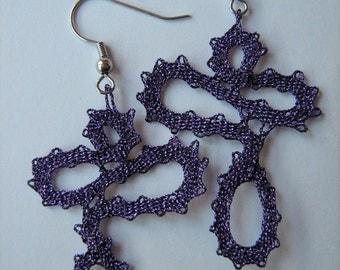 """Bobbin Lace Earrings """"Teardrops""""/ Handmade Bobbin Lace Jewelry/Purple Earrings/ Earrings"""