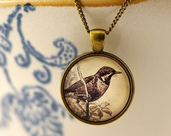 """nostalisches set """"Vintage Bird"""" long necklace with pendant and matching earrings"""