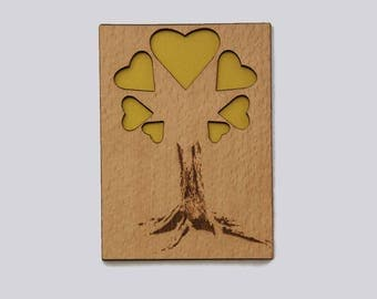 Wood card heart tree