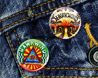 Hawkwind Classic Space Rock Psychedelic Acid Pin Button Badge Set 2 x 25mm Badges or Individual