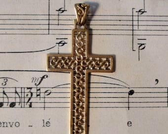 Antique French Art Nouveau 18k Yellow Gold Cross Crucifix c1920