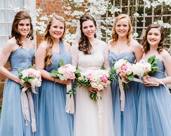 Made to Order Convertible/ Infinity/ Multi Way Blue Tulle Full Length Bridesmaid Dress - Custom Colours - OL001