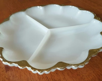Anchor and Hocking Milk Glass Serving Dish