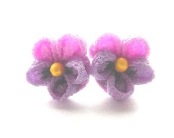 Japanese TSUMAMIZAIKU Flower Earrings violet Rayon