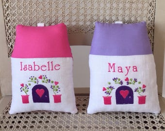 Tooth Fairy house pillow with embroidered name