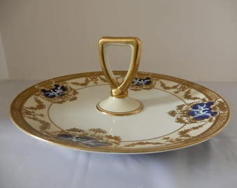 Rare Antique Morimura Noritake Tray 1918-1921 Gold Handled Tray Beautiful Gold Scrolling and cobalt blue medallions white doves M Mark Era