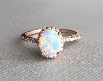 White opal ring Etsy