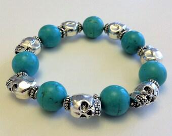 Turquoise & Skull Stretch Bracelet
