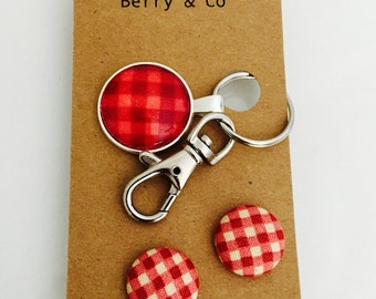 Red Gingham Glass Keyring Chain and Earring Gift Set