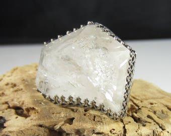 Broken Crystal Ring - Terminated Quartz Crystal Set in Sterling Silver