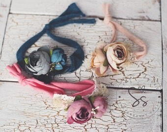 Newborn flower headband with silk flowers, Newborn prop, photography prop, newborn headband