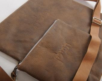 Dark brown 2 pieces talit and tefilin set. Judica men gift.