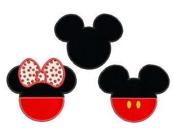 Mickey and Minnie mouse applique design - Set of 3 - Disney embroidery design - Machine embroidery