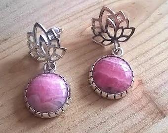 Rhodochrosite and lotus flower earrings, handcrafted lotus earrings, rhodochrosite earrings, rhodochrosite jewelry