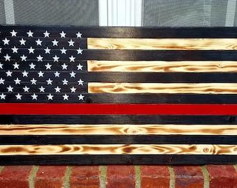 Thin Red Line Flag, Firefighter Flag, Wood Flag, Wooden Flag, Red Line Flag, American Flag, Wood Firefighter Flag, Wood American Flag, Flag