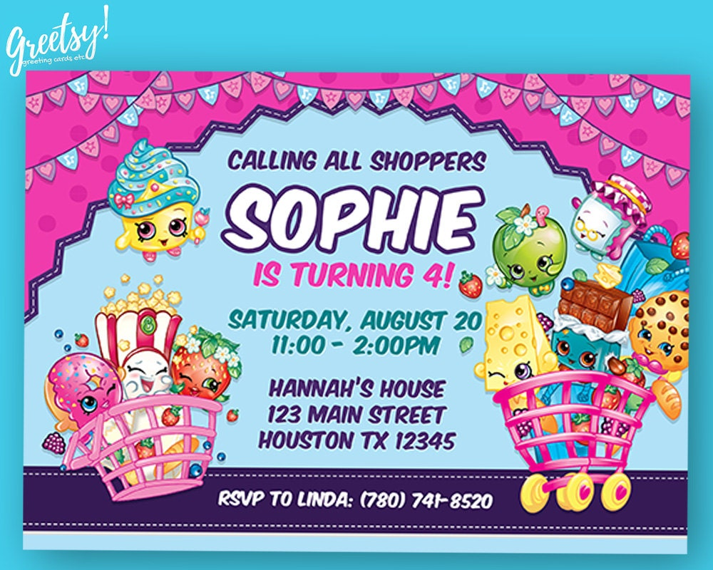 Shopkins Invitation Shopkins Birthday Shopkins Party - Blank shopkins birthday invitations