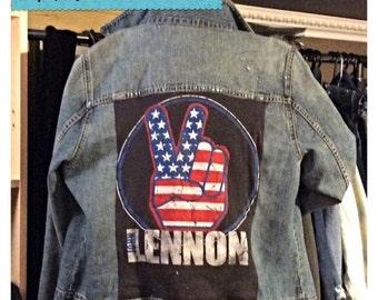 SOLD Homemade John Lennon distressed jeans jacket