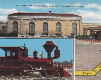 Sacramento, California Vintage Postcard - Southern Pacific Station,