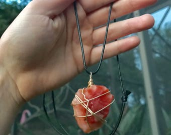 Carnelian agate wire wrapped necklace