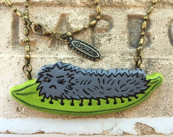 Caterpillar Necklace, Cute Caterpillar, Caterpillar Jewelry, Leaf Jewelry, Spring Jewelry, handmade in Los Angeles, handmade in LA