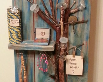SALE! Jewelry Tree, Wood Shelving Organizer, Reclaimed Wood Shelf, Jewelry Organizer, Jewelry Storage, Gifts for her, Rustic Jewelry Holder