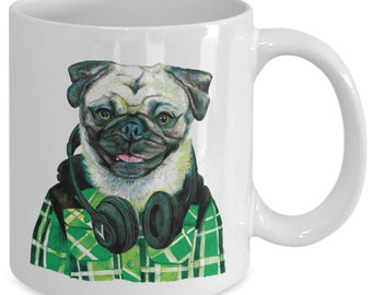 Funny Pug Wearing Headphones Mug - Green