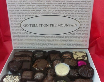 Chocolates with Go Tell It On The Mountain Box Lid or choose from over forty lids. Gourmet Boxed Chocolates.