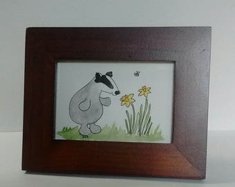Badger with Daffodils