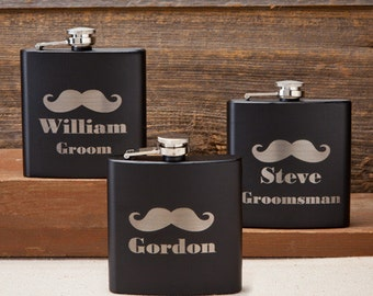 Black Matte Mustache Flasks - Plain