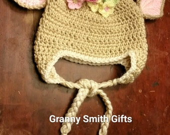 Deer Fawn Crocheted Hat with Ear Warmers and Tassles