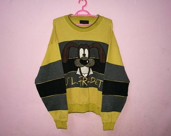 Rare!! Sweatshirt J.L.Fradet Spellout Embroidery Striped Pullover Jumper Sweatshirt