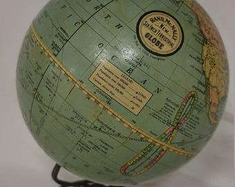 c.1929 Classroom Globe Rand McNally New Six Inch Terrestrial Globe Aug 3, 1909 Copyrighted