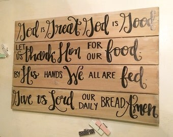 God is great God is good prayer sign, wood pallet sign, whitewashed sign, hand lettered sign, personalized wood sign, wooden prayer sign