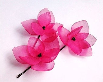 3 Hot Pink Hair Clips Hot Pink Hair Flowers Hot Pink Hair Pins