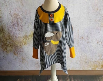 Deer tunic sweater Gr. 80-152 striped blue mustard