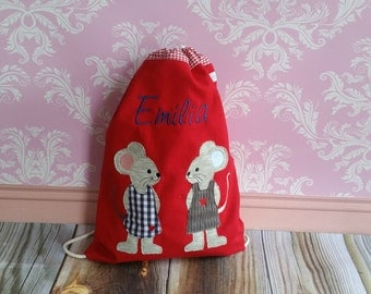 Kindergarten Turn bag mouse in love mice red