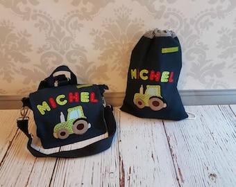 Kindergarten, Trakrot green, set, backpack, gym bags, Trek, green, colorful letters, kindergarten, children Trek, backpack, bag