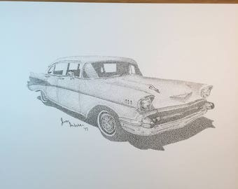 Stippled Chevrolet Car Drawing Print  // pen // ink // black and white // chevy // old // vintage // dots // pointillism // hot rod